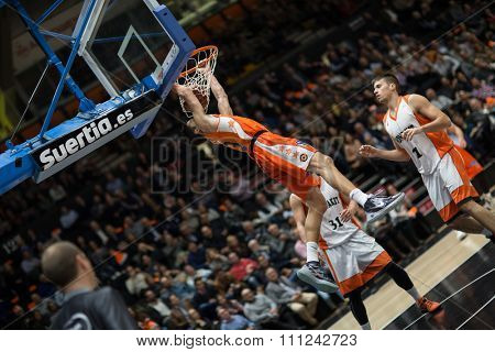 VALENCIA, SPAIN - DECEMBER 12th: Lucic during Spanish League between Valencia Basket Club and Montakit Fuenlabrada at Fonteta Stadium on December 12, 2015 in Valencia, Spain