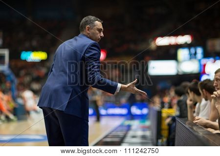VALENCIA, SPAIN - DECEMBER 12th: Cuspinera during Spanish League between Valencia Basket Club and Montakit Fuenlabrada at Fonteta Stadium on December 12, 2015 in Valencia, Spain