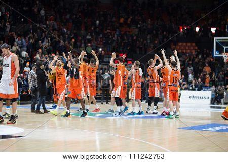 VALENCIA, SPAIN - DECEMBER 12th: Valencia players during Spanish League between Valencia Basket Club and Montakit Fuenlabrada at Fonteta Stadium on December 12, 2015 in Valencia, Spain