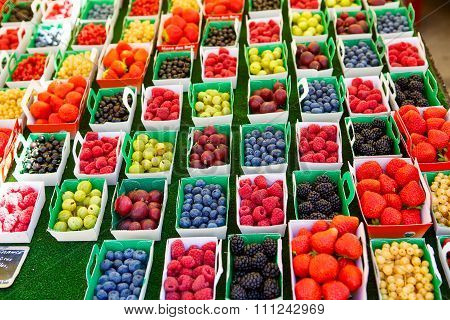 Different Berries On Market In South Of France, Arles, Provence