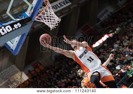 VALENCIA, SPAIN - DECEMBER 12th: Paunic during Spanish League between Valencia Basket Club and Montakit Fuenlabrada at Fonteta Stadium on December 12, 2015 in Valencia, Spain