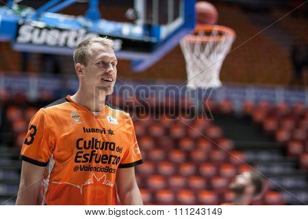 VALENCIA, SPAIN - DECEMBER 12th: Sikma during Spanish League between Valencia Basket Club and Montakit Fuenlabrada at Fonteta Stadium on December 12, 2015 in Valencia, Spain
