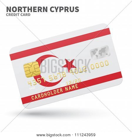 Credit card with Northern Cyprus flag background for bank, presentations and business. Isolated on w