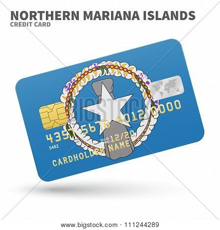 Credit card with Northern Mariana Islands flag background for bank, presentations and business. Isol