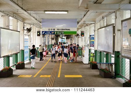 HONG KONG - MAY 06, 2015: interior of the Tsim Sha Tsui Ferry Pier for Star Ferry. The Star Ferry is a passenger ferry service operator and tourist attraction in Hong Kong