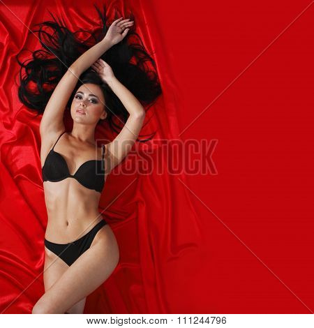 Woman On Red Silk