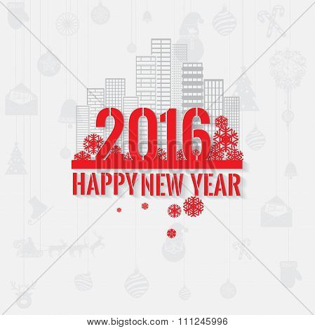 Modern style red gray color scheme new year greetings card