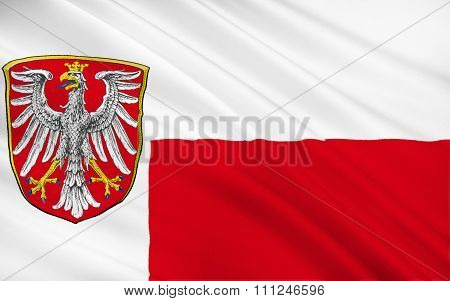 Flag Of Frankfurt Am Main Is The Largest City In The German State Of Hessen