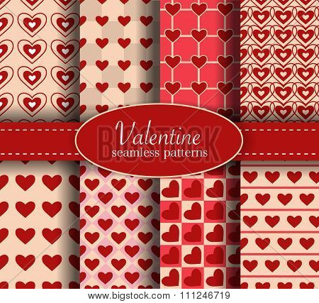 Valentine day heart love seamless pattern set
