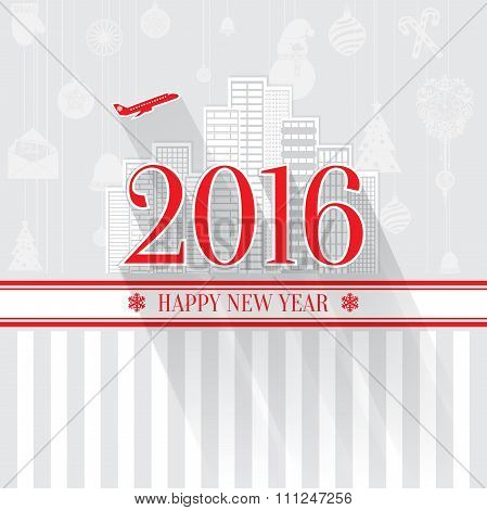 Modern style red gray color scheme new year greetings card on light-gray background with gray elemen