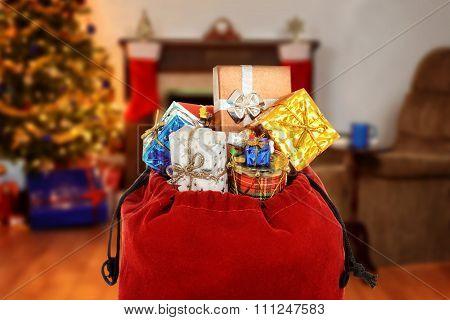 santa claus bag full of gifts