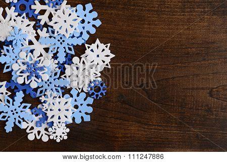 snowflakes on wood