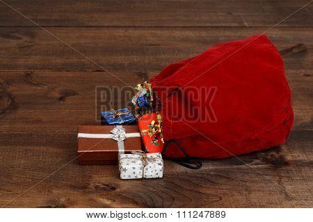spilled santa claus bag