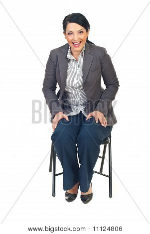 Executive Woman Sit On Chair And Laughing Out Loud