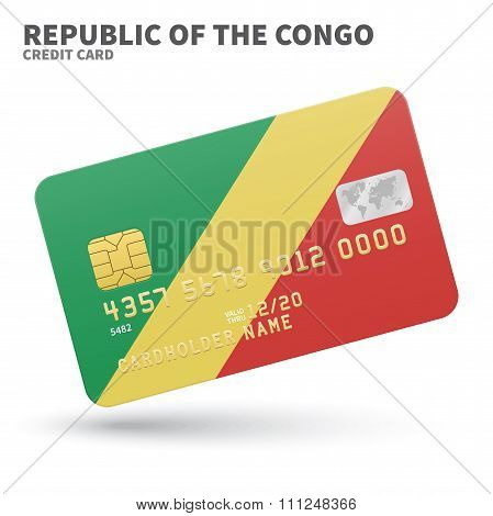 Credit card with Republic of the Congo flag background for bank, presentations and business. Isolate