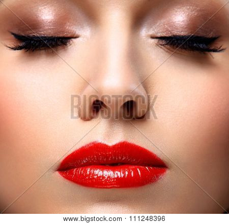 Red Sexy Lips and Nails closeup. Open Mouth. Manicure and Makeup. Make up concept. Half of Beauty mo