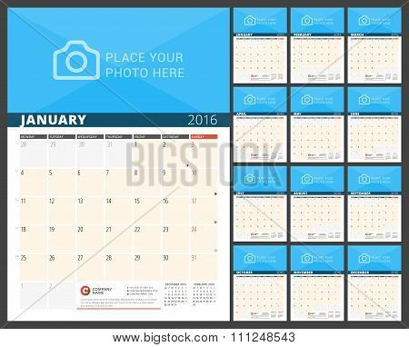 Wall Calendar Planner For 2016 Year. Vector Design Print Template With Place For Photo And Notes. We