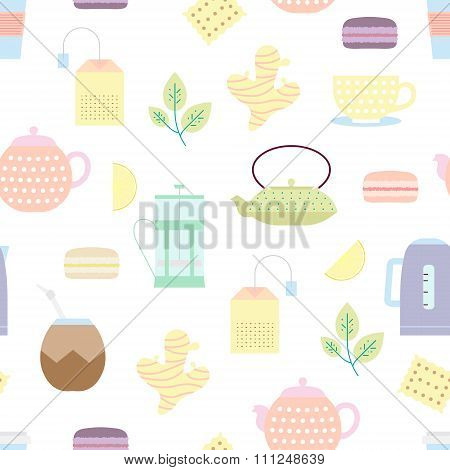 Tea Culture Objects Pattern