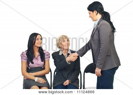 Business Woman Make Acquaintance