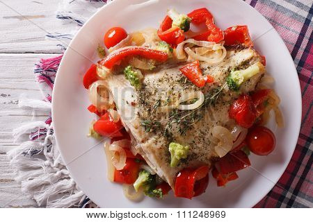 Baked Flounder With Vegetables Closeup. Horizontal Top View