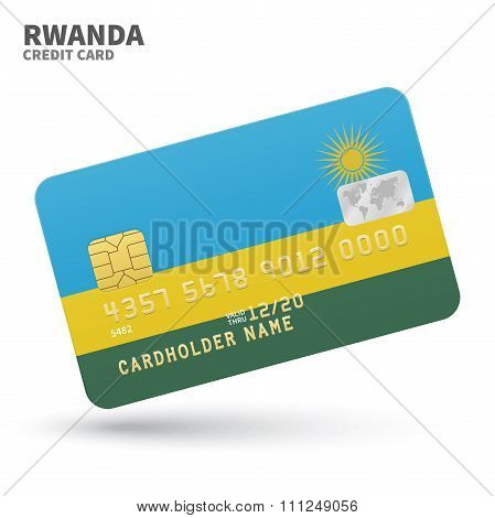 Credit card with Rwanda flag background for bank, presentations and business. Isolated on white