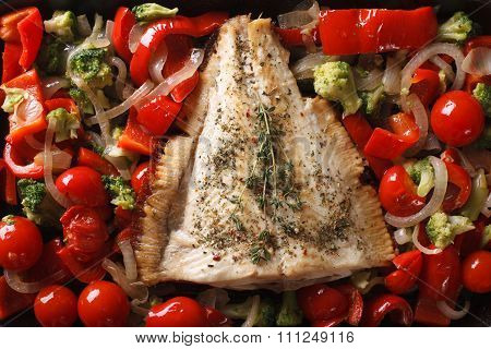 Tasty Flounder With Vegetables Close-up. Horizontal Top View