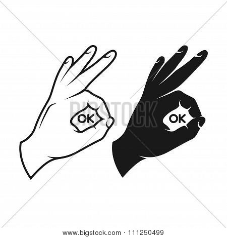 Hand making okay sign. Black and white variants.
