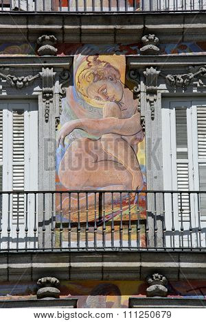 MADRID, SPAIN â?? September 17, 2015: Detail of Historic tenement house facade Casa de la Panaderia (Bakery House, 1619 now municipal and cultural building) Plaza Mayor.