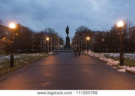 Nizhny Novgorod, Russia - November 02. 2015. Monument to  writer Gorky on Square at night