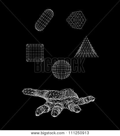 triangle pyramid, Ball, Cube, capsule on the arm. Polygon triangle. Polygonal hand. Mesh polygonal b