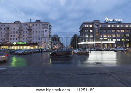 Nizhny Novgorod, Russia - November 02. 2015. The central street named after  writer Gorky