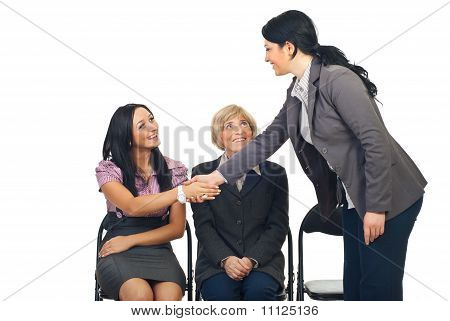Business Woman Congratulate Her Colleague