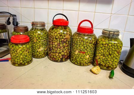 Glass Jars With Pickled Olives