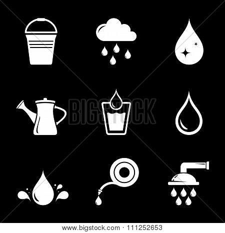 set white watering icons