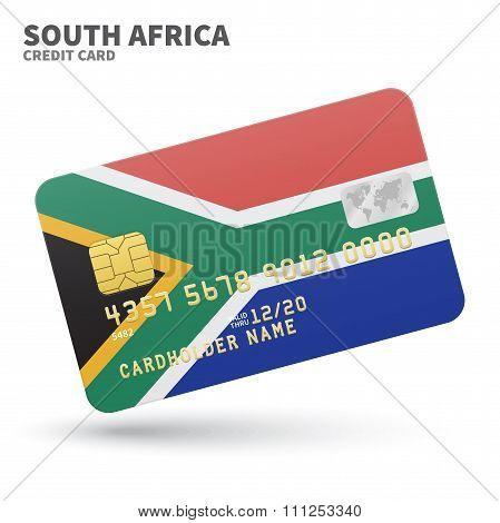 Credit card with South Africa flag background for bank, presentations and business. Isolated on whit