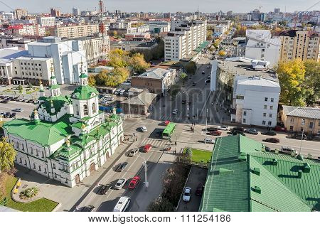 Church of Saviour in Tyumen and urban scene,Russia