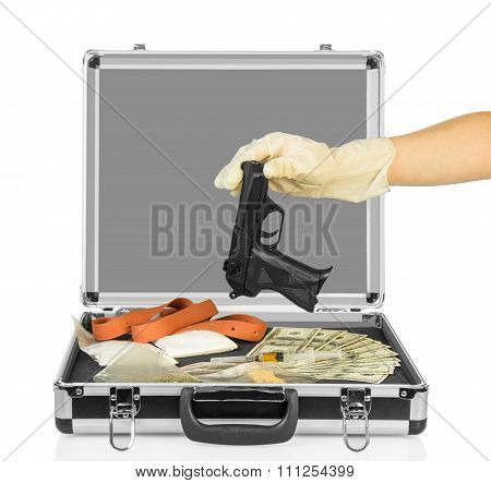 Case with money, gun and drugs