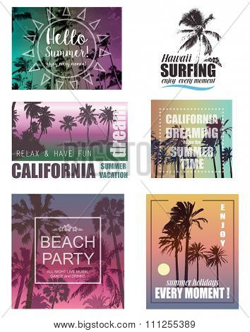 Set of Exotic Print with Palms for T-shirt. Summer Travel and Vacation Backgrounds .  Nature Landscapes.