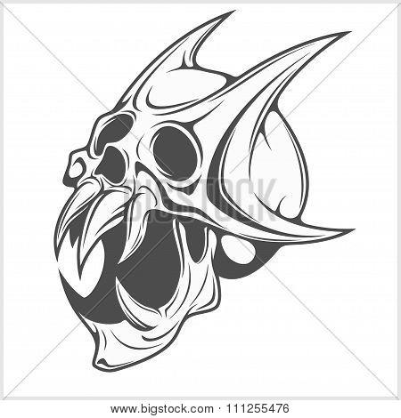 Horned Skull on white