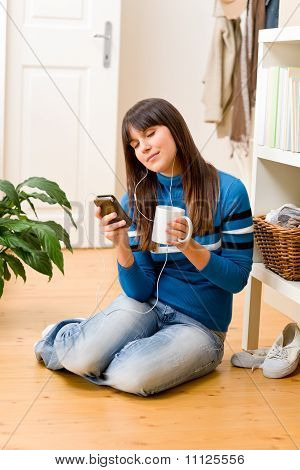 Teenager Girl Relax Home - Listen To Music