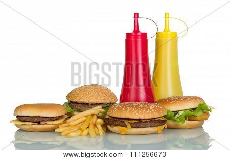 French fries, burgers and souses