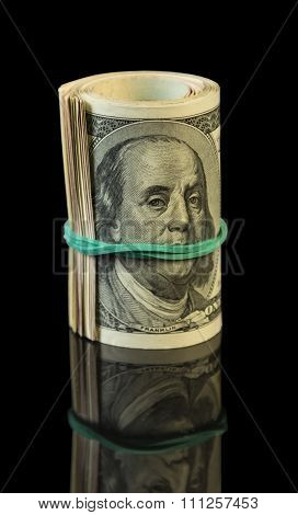 Dollar bills rolled up