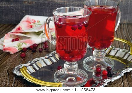 Red Cranberry Fruit Drink Two Glasses On A Tray.