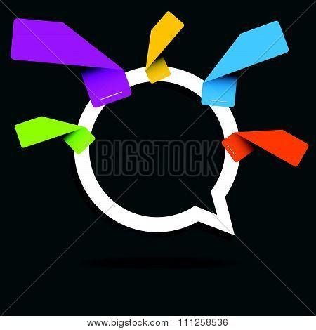 Speech Bubble Pointer Emty Sticker Five Color