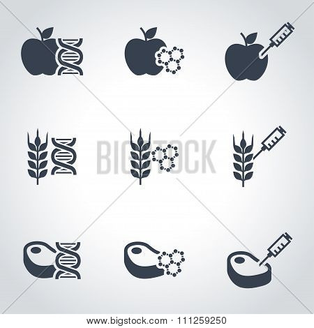 Vector Black Genetically Modyfied Food Icon Set