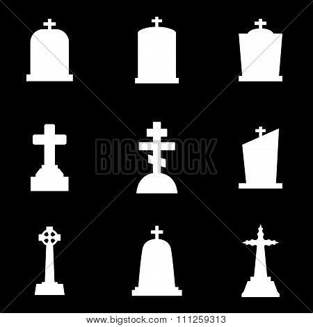 Vector White Gravestone Icon Set