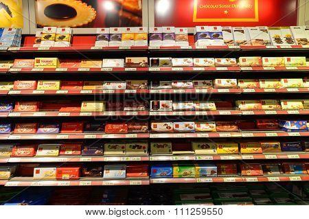GENEVA, SWITZERLAND - SEPTEMBER 18, 2015: interior of Migros supermarket. Migros is Switzerland's largest retail company, its largest supermarket chain and largest employer