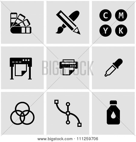 Vector Black Polygraphy Icon Set