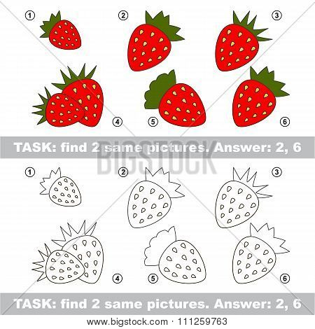 Visual game. Find hidden couple of Strawberry