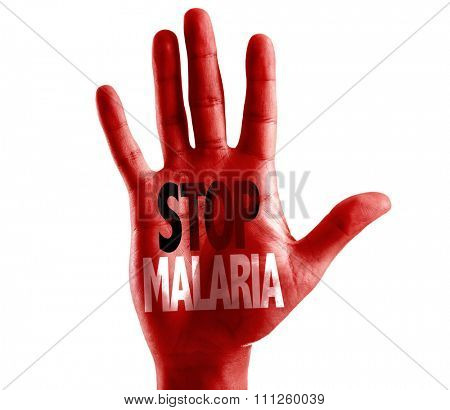 Stop Malaria written on hand isolated on white background
